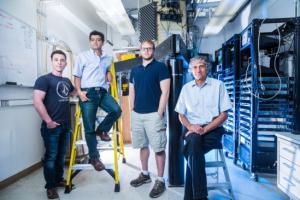 Members of the John Martinis quantum computing group (l to r) : Charles Neill, Pedram Roushan, Anthony Megrant and John Martinis